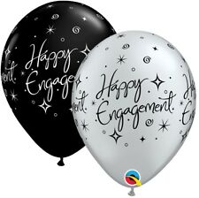 10 Black / Silver Happy Engagement Helium or Air Balloons Party Decorations 11""
