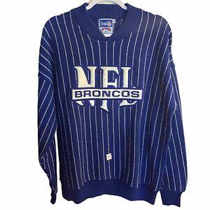 Vintage Nutmeg Mills Denver Broncos Striped Blue Sweater Size XL NFL