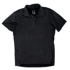 Arcteryx Mens Captive SS Polo Shirt M Solid Black Cotton Poly Stretch Blend