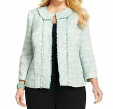 Kasper Separates Jacket Woman Sz 16W Spearmint Green Multi Blue Danube Blazer