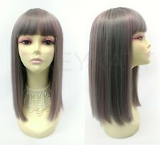 Blunt Cut Bangs Long Straight Heat Resistant Wig Smoky Silver Blue Gray Pink