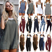 Women Casual Dungarees Jumpsuit Playsuit Loose Trousers Overalls Jeans Pants
