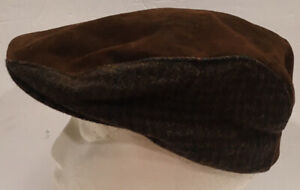 Vtg Country Gentleman Brown Suede Leather & Plaid Newsboy Cap Hat Cabbie