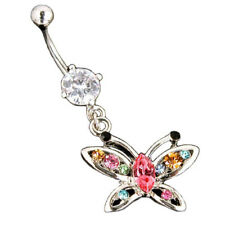 Piercing de Ombligo Perno Para Anillo Multi Cristal Colgante mariposa colores