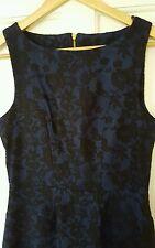 Worn Once £65 John Lewis/Almari Size 12 14 Blue Black Lace Dress Party Evening