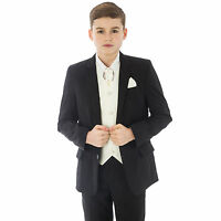 Boys Black/Cream suit 5pc Swirl wedding pageboy formal party waistcoat smart
