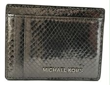 New Ladies Michael Kors 'Money Pieces' Silver-coloured Leather Card Holder