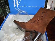 White Mountain Womens BOOT Brown 8M *SOFT Embroidered Floral Design NIB!