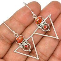 Fire Opal & Garnet 925 Sterling Silver Earrings Jewelry AE94103 154L