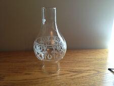 Kerosene Oil Lamp Chimney Vintage TORCH & WREATH Design Big Bulge Clear Glass