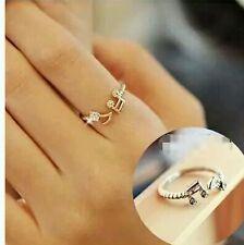 #9031 Cute Musical Note Adjustable Openings Rhinestone Silver Plated Rings