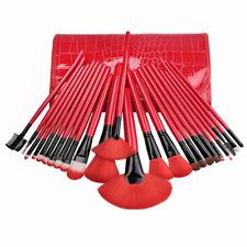 24 Piece Royal Red Make Up Brush Set