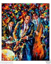 Music Poster/ Jazz Trio 16x20/Jazz music/Colorful Jazz Painting /Reproduction