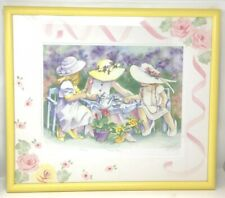 """Lynn Greer """"Tea For Three"""" Watercolor Painting Print Hand Signed Numbered Framed"""