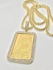 Gold 24kt PAMP Suisse Swiss 1 Oz Custom Bar Pendant Charm 3.9 cts Necklace Sale!