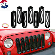 7x Matte Black Front Insert Mesh Cover Grille Trim For Jeep Wrangler JK 07-15