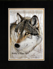"Matted Timber Wolf Art Print ""Winters Watch"" 8x10 Mat by Artist Roby Baer PSA"