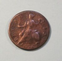 1738 Great Britain Half 1/2 Penny Copper Coin Britania Seated UK English RARE