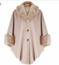 JACQUES VERT Cashmere Wool Blend Faux Fur Cape Palomino FreeSize BNWT 16 18 20