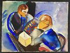 1927 Irving Katzenstein Modernist Cubist Chess Players Watercolor SIGNED Jewish