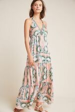 Anthropologie Nicole Miller Moroccan Print Maxi Halter Dress Size 14