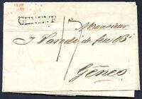 SWITZERLAND GENEVE Cancel on Prephilatelic Cover 1824 VF