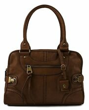 Leather Bag Vintage Women Handbag Shoulder Messenger Purse Satchel Tote Pu Brown