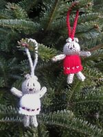 Hand Knitted Teddy Bear Christmas Tree Decoration (White)