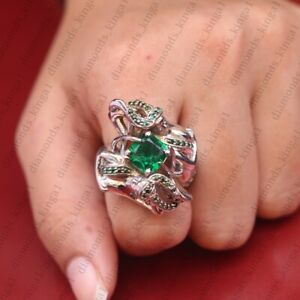 5.00Ct Green Emerald Cushion Cut 14K White Gold Over Silver Mermaid Ring Size 7