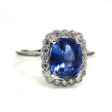Natural Ceylon Sapphire Diamond Engagement Ring 2.83 TCW 14k White Gold (145113)