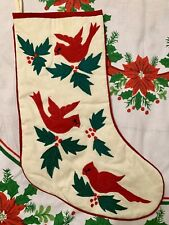 CARDINALS & HOLLY CHRISTMAS STOCKING COTTON NEW NWT