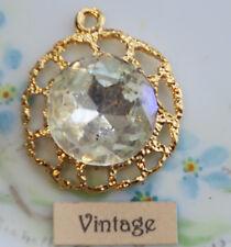 #1307C Aurora Borealis Vintage Filigree Pendant Rhinestone AB Crystal Findings