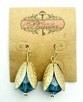 Plunder Blue Beaded Gold Tone Leaf Dangle Drop Pierced Earrings