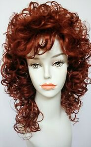 Short, Mid-length Fox Red Curly, layered Wig - Posie