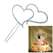 Romantic Crystal Rhinestone Silver Double Heart Cake Topper Wedding Decoration