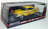 Jada 1/24 Scale Deadpool & 1957 Chevy Bel Air Taxi Yellow Cab Diecast model car