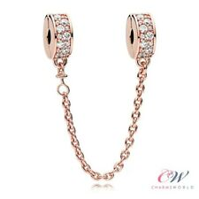 Rose Gold 925 Silver Crystal Safety Chain. Shining Elegance 💞  Christmas Gift