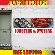 LOBSTERS & OYSTERS Advertising Banner Vinyl Mesh Decal Sign fresh seafood bbq