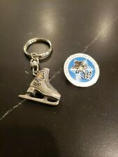 New listing 2002 Olympic blue white snowflake pin Ice skate keychain silver