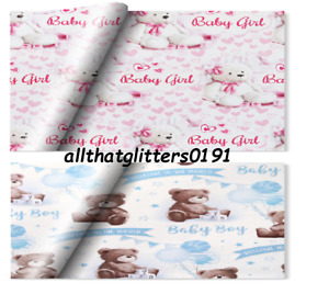Birth Christening, Birthday, Wrapping Paper, Gift Wrap 2X Sheets & 1 X Gift Tag.