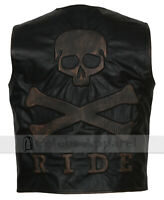 Men Vintage Black Biker Distressed Skull Motorcycle Leather Vest Moto Jacket