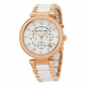 Michael Kors Parker White & Rose Gold Tone Glitz Chronograph Ladies Watch MK5774