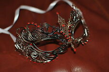 Delicate Venetian Silver  Metal Mask Masquerade Red Diamante Ball. Prom/Ball. UK