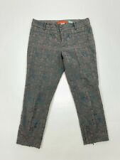 Cartonnier Anthro Charlie Ankle Zip Crop Pants Embroidered Teal Grey Size 12