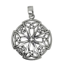 925 solid Sterling Silver Celtic New Quaternary cross with 4 triquetras pendant
