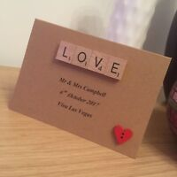 Scrabble Art Personalised Wedding / Civil Partnership Card
