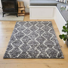 Geometric Gray Shaggy Rugs Small Large Rug 3cm Deep Cosy Tribal Living Room Mat
