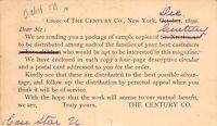 New York City~The Century Co Office~Sample Sent~Magazine Salesman~1890 Postal