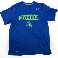 Nike Dri-fit Men's T-shirt Large Blue Graphic Title Boxing Green Short Sleeve