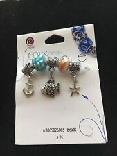 Cousin Mix and Mingle Charms 5 Pieces Silver-tone Anchor/Fish/Starfish 2 Beads